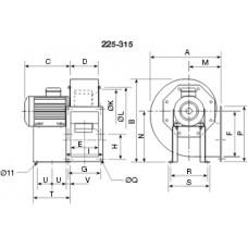 CHMT/6- 315/130-1,1 Центробежен вентилатор 400 градуса