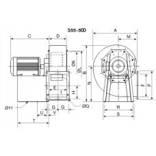 CRMT/4- 355/145 3Kw Центробежен вентилатор 400°C